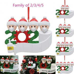 Quarantine Christmas Birthdays Party Decoration Gift Product Personalized Family Of 2 3 4 5 Ornament Pandemic Social Distancing BWC2297