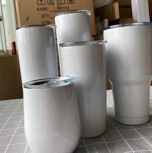Copa clásica de acero inoxidable de acero inoxidable Copa del vaso de calor con tapa de viaje taza regalo 12 oz 20oz 30 oz taza de tumblers flacos ljjk2481