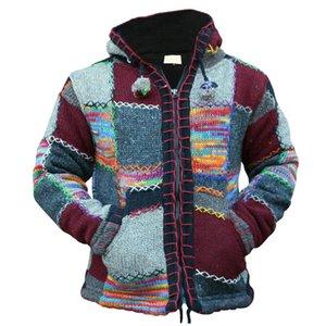 MJARTORIA primavera Hombres con capucha de la cremallera del remiendo de la manera del otoño Prendas de punto suéter de punto de Sweatercoat capa ocasional Casaco Masculina
