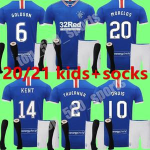 Çocuklar 2020 2021 Glasgow Rangers fc GERRARD Futbol Formalar çocuk 20 21 Glasgow Rangers Defoe Dauis Deplasman 3 gençlik Futbol Gömlek kiti