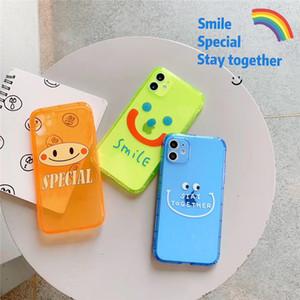 Nouveau Designer transparent fluorescent sourire phonecase mobile pour IPhone11 Pro Max X Xs Max Xr 8/7 Phone Plus résistant aux chocs cas capot arrière