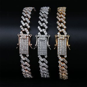 European and American Style Luxury Exquisite High Quality Bling Zircon Micro Paved Chain 18K Gold Plated Geometric Hip Hop Bracelets LBR092