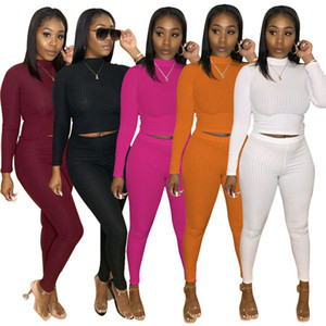 2020 Women Ribbed Yoga Set Long Sleeve Crop Top Shirts Stretchy Rib Leggings Gym Sets 2 Piece Fitness Clothing Sports Suits