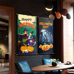 Halloween hotel restaurant KTV door hanging cloth pumpkin Skull Halloween Pendant Festival party supplies FF139