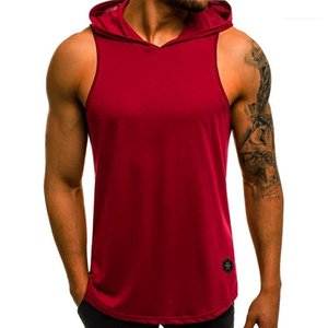 Loose Mens Tank Summer Mens Sleeveless Solid Color Casual Mens T Shirts Soft Breathable Hooded Fashion