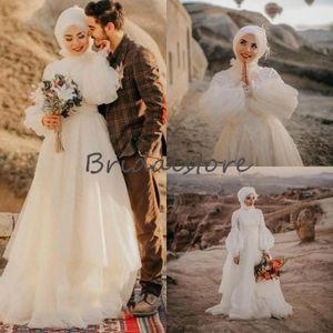 Puff Sleeve Arabic Muslim Wedding Dresses A Line Boho Lace Wedding Dress 2021 Cheap Floor Length Tulle Country Bohemian Bridal Gowns Elegant