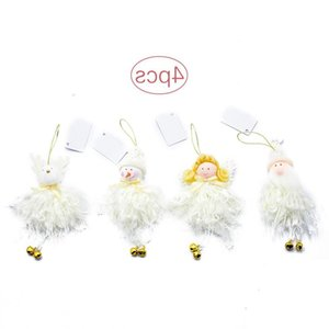 Cute Decoration Supplies Christmas Plush Toy 4pcs Doll White Angel Old Pendant with Small Bells Home Festival Decorations Bl3f