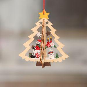 Новая 2D 3D рождественские украшения Деревянные Висячие Подвески звезды Xmas Tree Bell Новогодние украшения для партии Главная Новый год аксессуары