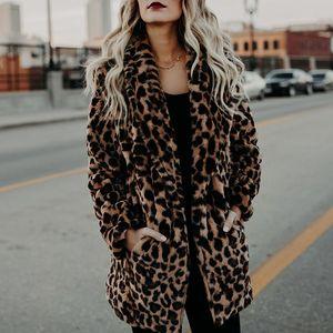Kadınlar Sonbahar Kış Sıcak Moda Leopard Yapay Kürk Kadın Coats Casual Jacket 6Q2347 için 2020 lüks Sahte Kürk