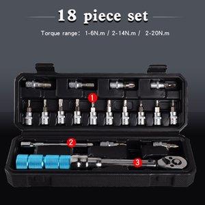 18pcs ajustável Torque Wrench Set 1/4 Ratchet Soquete Spanner predefinida bicicleta Repair 11UA