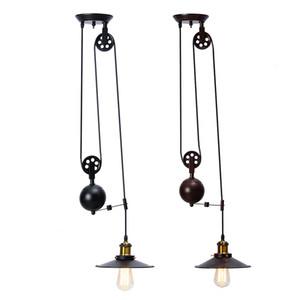 Retro Ciondolo AC110-240V E27 singolo Vintage Loft Sconce Luce Hanging Pulley lampada Infissi Ristorante Bar decorazione domestica