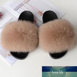 Wholesale Women's Summer Plush Shoes Fluffy Real Fox Hair Slippers Woman Fur Slides Wear Furry Sandals Female Fur Flip Flops 45