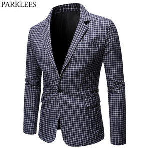 Mens Plaid Checked Suit Blazer Spring New Slim Fit One Button Notch Lapel Casual Deily Dress Suit Jacket Blazer Masculino 200922
