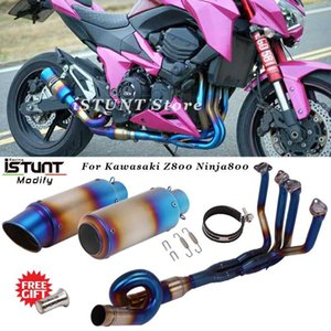 Escape de la motocicleta Z800 Sistema de escape completo Modificado de deslizamiento frontal Medio Enlace tubo de escape DB Killer En Z800 Para Ninja800