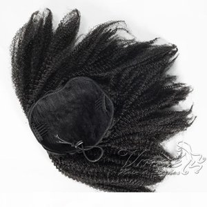 Brazilian 4C Afro Kinky Hair Ponytail 120g Horsetail Natural Black Virgin Elastic Band Drawstring Human Hair Curly Ponytail Hair Extensions