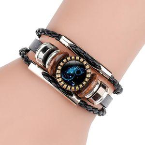 12PCS / Lot Horoskop zwölf Constellation-Charme-Armbänder Böhmen-Leder-Armband für Frauen-Mann-Nizza Geschenke