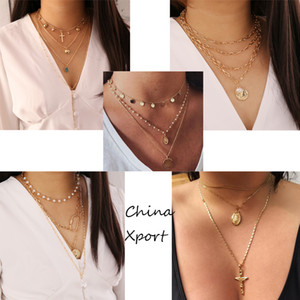 coin jesus cross pendants multi layers elegant women necklaces hot selling girls jewelry graceful necklace creative design