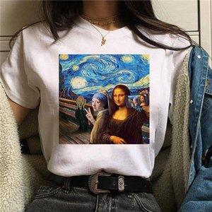 mona lisa t shirt women female streetwear dog korean harajuku funny tshirt Graphic ulzzang grunge t shirt femme Casual hip hop