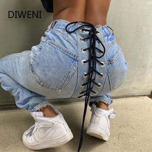 DIWEINI Мода Высокая Талия Бедра Tight шнуровке Прямые джинсы Женщины Тонкий синий Streetwear Повседневный Vintage Ripped Джинсовые брюки 2020