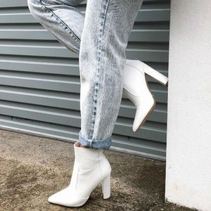 women mid-calf boots chaussure booties vintage PU leather high heels pointed toe pumps shoes woman zapatos mujer sapato D1733