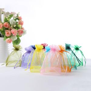 100 Pezzo Sacchetti Organza regalo sacchetto di organza di favore di cerimonia nuziale del sacchetto Gioielli imballaggio solido di colore Piccolo dolce semplice sacchetto sveglio