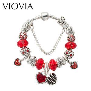 VIOVIA Новый дизайн моды красный кристалл браслет Antique Silver Color Charm Beads Fit Подвески Браслеты для женщин Подарочные B15307