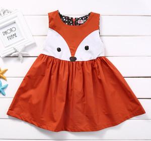 Meninas bebê fofo fox colete vestido crianças modelar animal vestido quente vender outono crianças princesa vestido crianças clohthes a4329