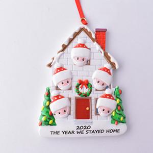 Новый Рождество Карантин Украшение DIY семьи 2020 Рождество День рождения Pandemic Survivor Санта-Клауса Рождественская елка смолы Подвеска IIA664