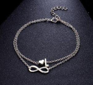 HOT Vintage 26 Letter Anklet Bracelets Female Initial Heart Infinity Charm Bohemian Friend Jewelry Gift Ankles Bangle for Women Girls