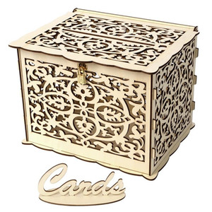 Один выделение Card Parts Carchit Case Древесина Резьба Подарочная коробка Свадьба Любовь Сердце любви с замком Квадратный контейнер 19 5JMA G2
