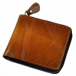 Men Cowhide Horizontal Bifold Casual Designer Short Credit Card Coin Holder Fahion Zipper Around Purse Wallet 1007 l