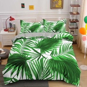 New Leaves Bedding Printing Design 2 3PCS Bed Duvet Cover Quilt Cover Set Bed Linen Single Twin Double Full Queen King Size