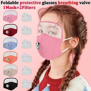 Kid Panda Masken faltbare Schutzbrille Atemschutzschild Antistaub PM2.5-Gesichtsmaske mit Filter Pad Removable-Augen-Schild-Maske LSK1232