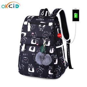 school bags for teenage girls waterproof school backpack female cute black printing laptop backpack women bagpack dropshipping 200919