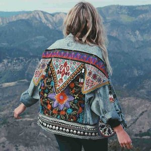 Boho Denim Jacket For Women Autumn Floral Appliques Embroidery Vintage Coat Long Sleeve Outerwear Female Jacket Coatee B025