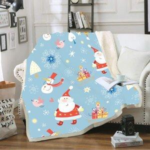 Feliz Navidad manta del tiro Sherpa Fleece Blanket Papá Noel lindo caliente Presente Manta rodilla acogedor Kids TV Nap