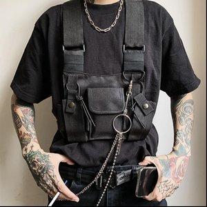 Men Fashion Tactical Chest Rig Bag Function Functional Chest Bag Streetwear Hip Hop Bags Adjustable Vest Pack Kanye West