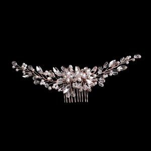 GETNOIVAS elegante Forcina Handmade delle donne Pearl Rose Gold Colore dei capelli pettine da sposa fascia Headpeice Accessori SL