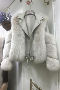 2020 New design women's PU leather patchwork turn down collar long sleeve faux fox fur short jacket coat casacos