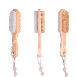 2 في 1 فرش تنظيف الجسم الطبيعي أو القدم التقشير فرشاة الجانب المزدوج مع طبيعة الخفاف الحجر الناعمة brise brush owb3233