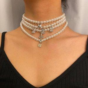 4шт / Set Pearl ожерелье сердца Замок Кристалл Креста Layered Pedant Choker ожерелье Bohemia барокко Перл цепи воротник
