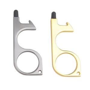 3 color Metal Safety Touchless Door Opener Stylus Key Hook metal Hands Free Door Handle Opener Tool Keychain with silicone head