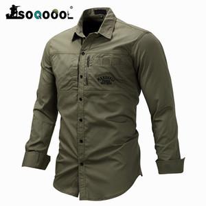 Soqoool Sommer T-Shirts Mann-Art-Armee Shirts Cotton Brief Stickerei beiläufige dünne Sitz-Männer Kleidung