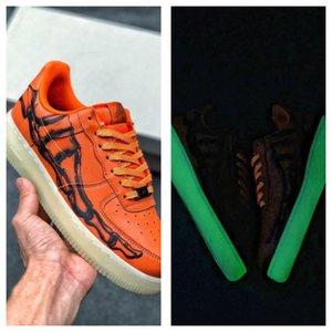 Top Light Качество Halloween Orange Black Skeleton Limited для человека Skate обувь Forces один скелет QS мужские обуви женщин Конструкторы тапки