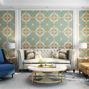 WELLYU 3D velvet European-style soft package non-woven wallpaper modern simple living room bedroom TV background wall paper