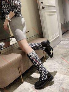 Dior Shoes superior de la rodilla botas de cuero real de otoño / invierno botas de moda los zapatos de alta calidad Tamaño de los zapatos casual 35-41