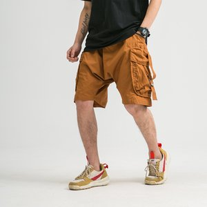Aolamegs Summer Shorts Men's Casual Big Pocket Cargo Pant High Street Fashion Harajuku Streetwear Loose Distressed Sweatshorts