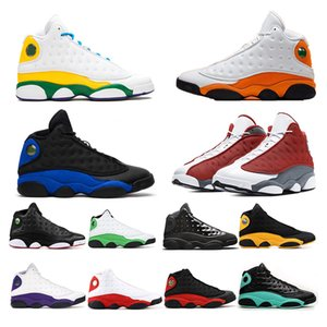 أورورا الخضراء ملعب فلينت Nike Air jordan  Retro 13S أعلى جودة Jumpman 13 رجل إمرأة أحذية كرة السلة ولدت LUKY الأخضر كاب وثوب الرياضة أحذية رياضية