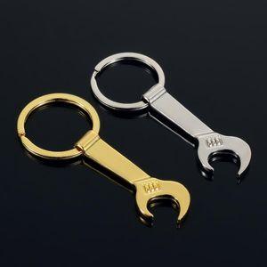 NOVO 8,5 * 3,2 centímetros ferramenta de metal Wrench Spanner Lever abridor de garrafas Chaveiro Chaveiro presente de prata Gold 2 cores HHB1707