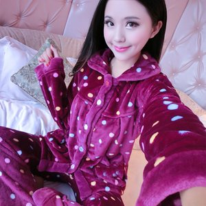 Autumn and Winter Thick Flannel Pajamas Womens Plus-sized Warm Cartoon Coral Fleece Suit Leisure Tops